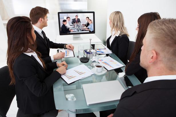 Wideokonferencja. Firma. Zebranie. Spotkanie. Wspólnicy