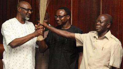 Anselm Ojezua (left) heads the APC in Edo State. Beside him is Comrade Adams Oshiomhole (Alltimepost.com)