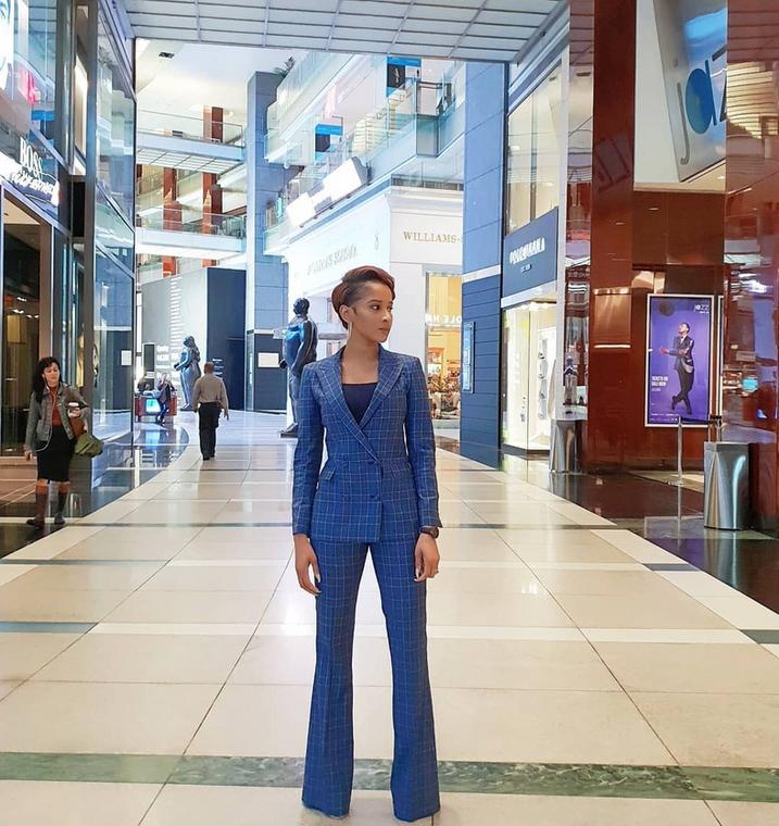 Adesua Etomi wearing a sharp tailored suit by Mai Atafo [Credit: Vogue]