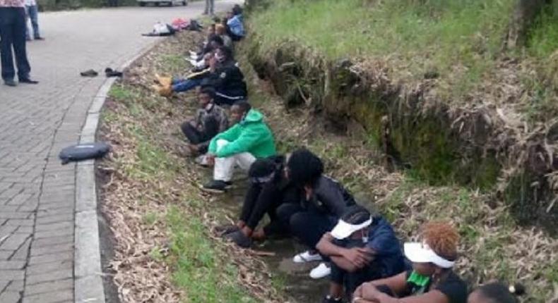 File image of youth arrested in Nakuru last week (courtesy)