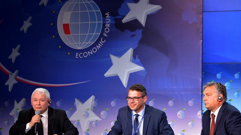 Jarosław Kaczyński, Michał Karnowski i Viktor Orban w Krynicy