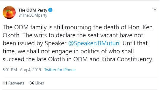 A screenshot of ODM's tweet regarding the party's position on replacing Ken Okoth in Kibra