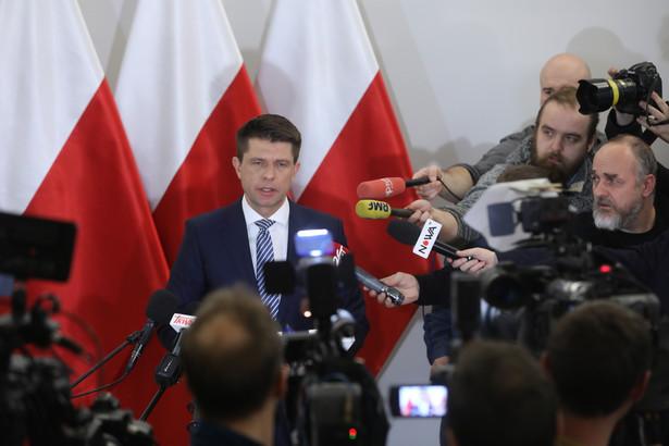 Przewodniczący Nowoczesnej Ryszard po spotkaniu liderów partii sejmowych z marszałkiem Senatu Stanisławem Karczewskim.