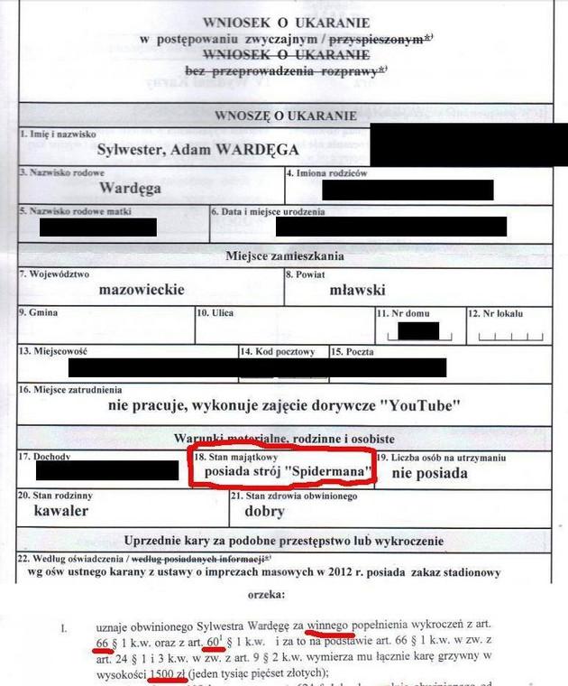 Skan wniosku o ukaranie, jaki Sylwester Adam Wardęga wrzucił do internetu (źródło: www.facebook.com/sawardega)