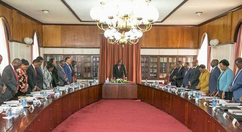 President Uhuru Kenyatta and Deputy President William Ruto during a Cabinet meeting at State House, Nairobi