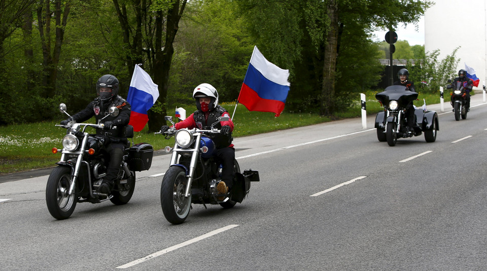 Members of the Russian motorcycle group called 'Nachtwoelfe' arrive at the former German Nazi concentration camp in Dachau