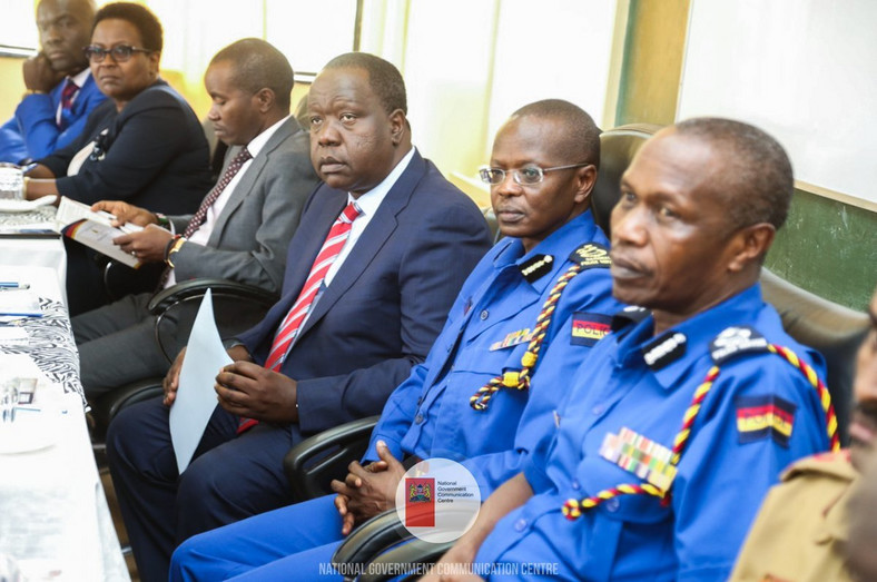 Interior CS Fred Matiang'i and Inspector General Joseph Boinnet (Twitter)