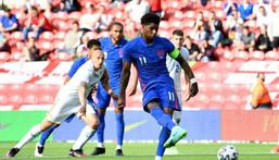No fear: Marcus Rashford said England would relish a last-16 Euro 2020 clash with France or Portugal Creator: Paul ELLIS