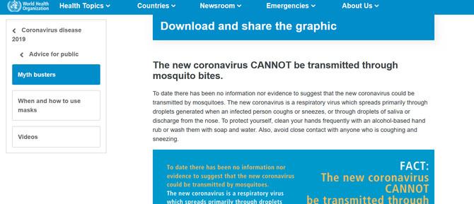 Komarci ne prenose korona virus