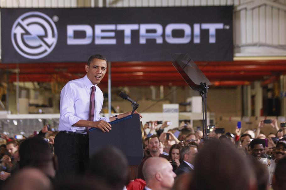 U.S. President Obama delivers remarks after his tour of the Daimler Detroit Diesel plant in Redford
