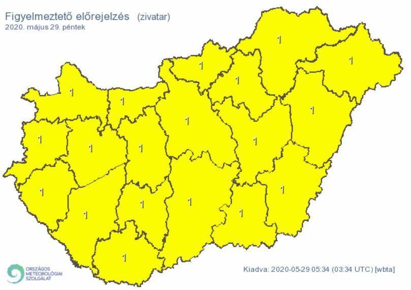 Riasztást adott ki az Országos Meteorológiai Szolgálat az egész ország területére