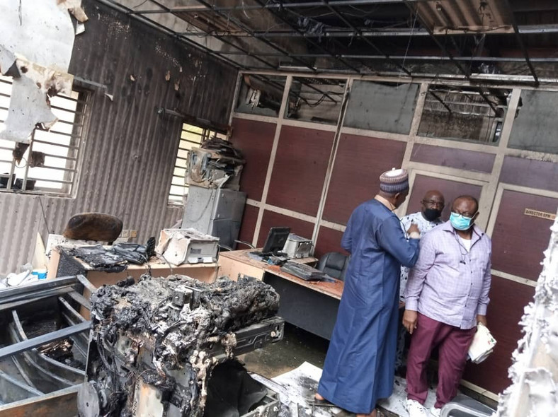 The fire damaged office furniture and equipment [INEC]