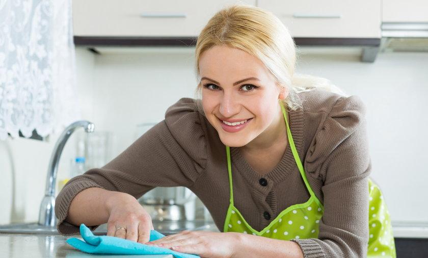 ścierka, kobieta, kuchnia, czyścić, porządek
