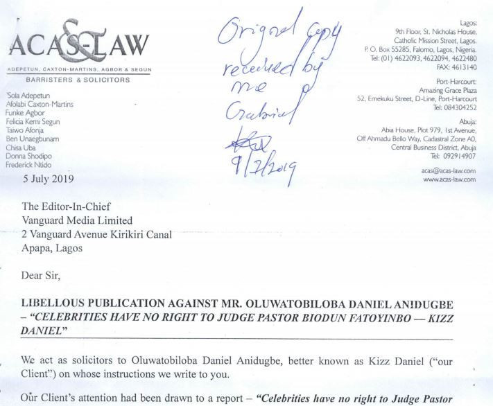 The letter states that Kizz Daniel is demanding a public apology and withdrawal of the publication, a written undertaking not to publish anything about him without confirmation and the sum of 100million naira to cover for reputational damage he has already suffered [LindaIkeji]