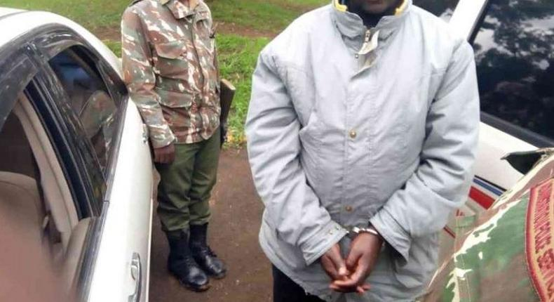 File image of a suspected arrested by police. KCSE candidate is being held in Mandera for allegedly writing a message on killing President Uhuru Kenyatta and Aden Duale