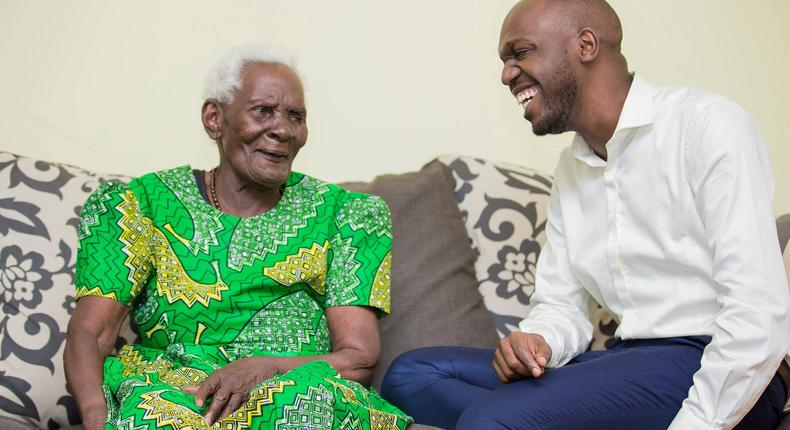 Larry Madowo with his grandmother Francesca