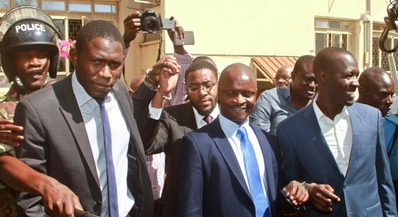 KPMDU Sec Gen Dr Ouma Oluga, Chairman Dr Samuel Oroko and Dr Allan Ochanji. Doctor's Union boss elected to influential international position