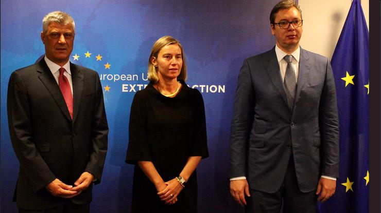 Aleksandar Vučić, Hašim Tači, Federika Mogerini