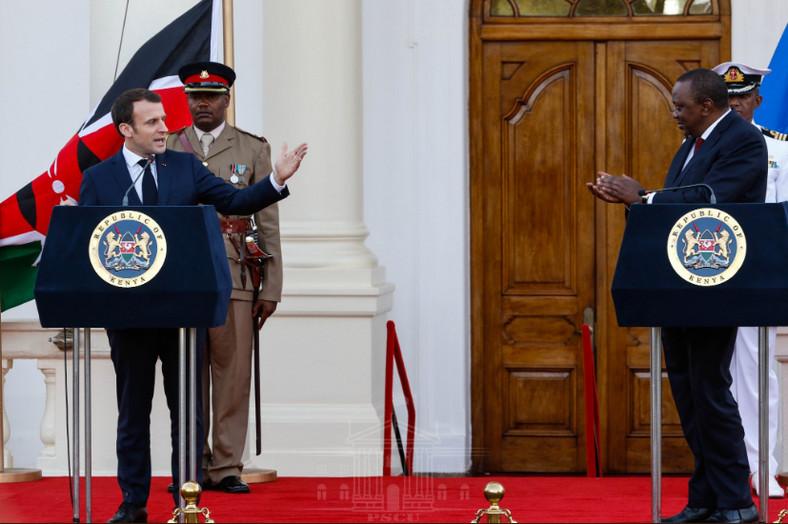 President Uhuru Kenyatta and his French counterpart President Emmanuel Macron at State House