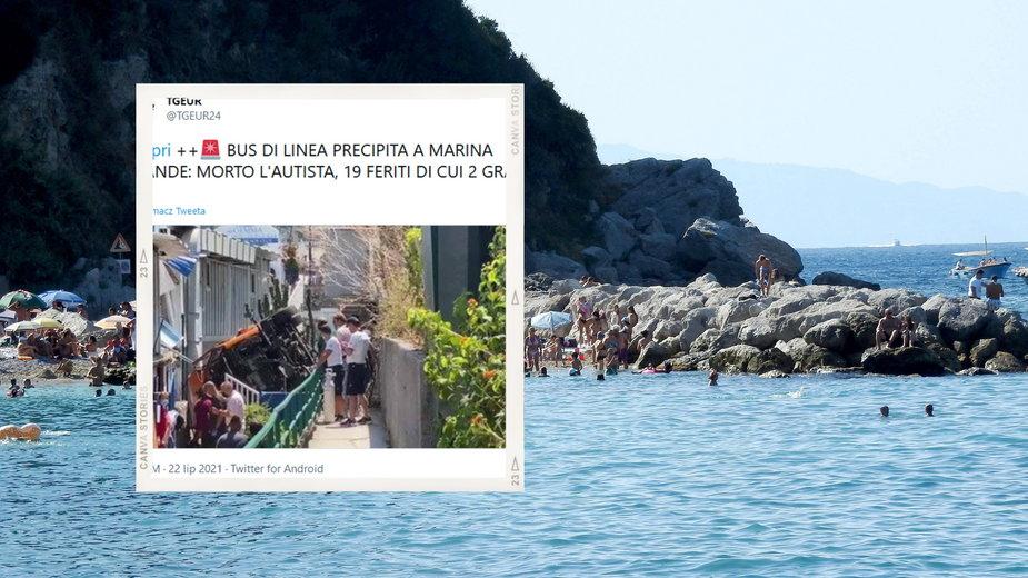 Włochy: Autobus wypadł z drogi na wyspie Capri. Jedna osoba nie żyje