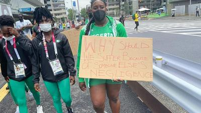 Photos: Nigerian athletes stage demo in Japan after being disqualified from Olympic Games
