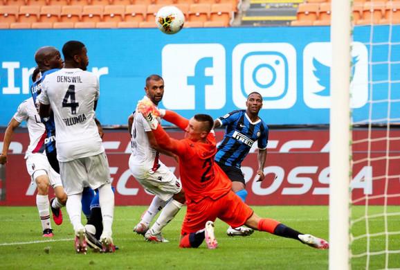 Detalj sa utakmice Inter - Bolonja u 30. kolu Serije A
