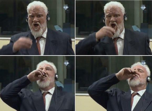 Praljak je nakon što mu je izrečena presuda ustao i popio nešto iz bočice