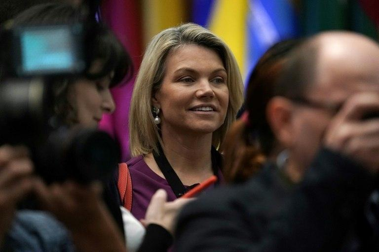 "Nauert, pictured in July 2018, aised eyebrows in June when she appeared to describe the D-Day landings as evidence of a longtime ""strong relationship"" with Germany"