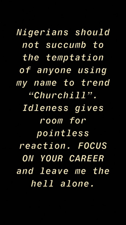 Olakunle Churchill on his part advised Nigerians to ignore Tonto Dikeh and her desperation for cheap publicity [Instagram/OlakunleChurchill]