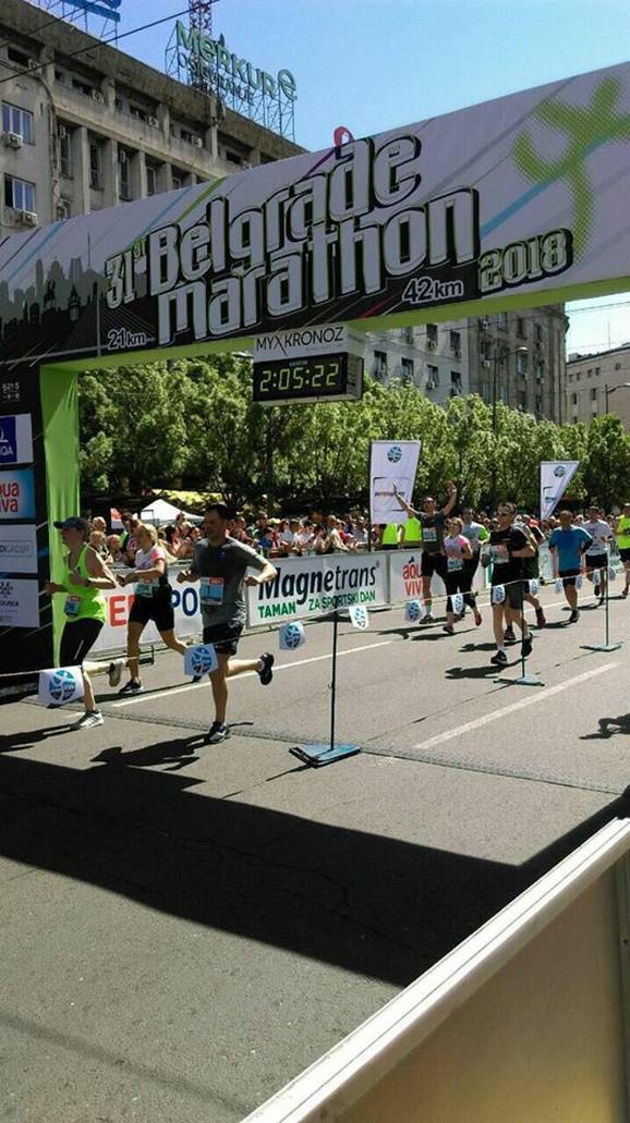 Siniša Mali na cilju, Beogradski maraton