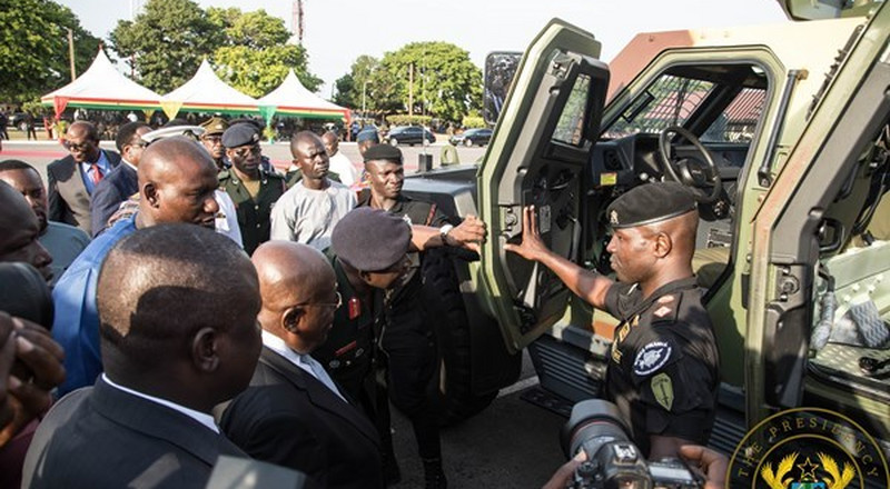 Akufo-Addo presents 33 armoured personnel carriers, 51 more vehicles to armed forces