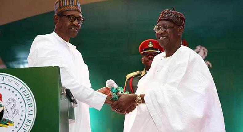 Nigeria's minister of information and culture, Lai Mohammed and President Muhammadu Buhari