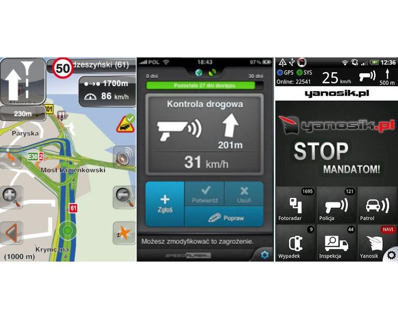 Aplikacje mobilne - Navi Expert, Speed Alarm i Yanosik