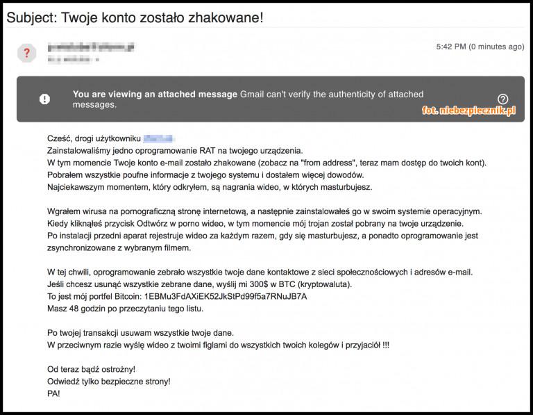 f2c0570d37e1ac Szantażysta próbuje naciągnąć Polaków. Uważaj na tego maila i nie ...