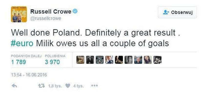 Gwiazdor z Hollywood pogratulował Polakom wyniku