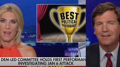 Tucker Carlson and Laura Ingraham mocked the harrowing police testimony about the Capitol riot with snickers and a 'best political performance' trophy