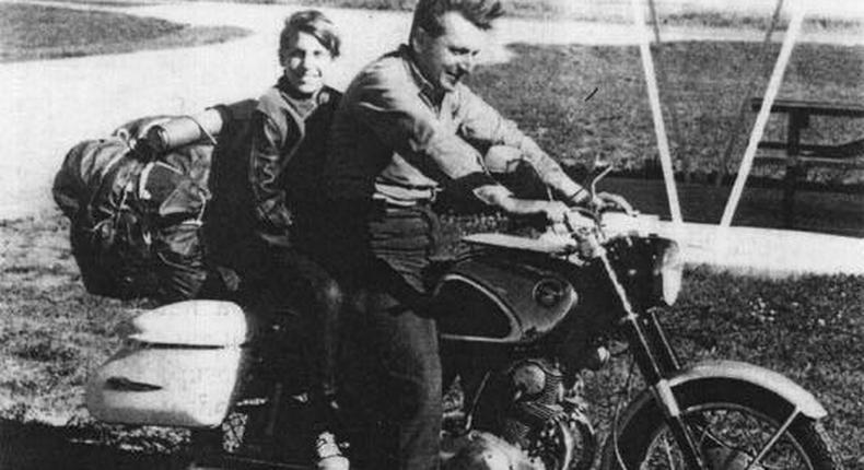 Robert Pirsig on a motorcycle with his son, Chris