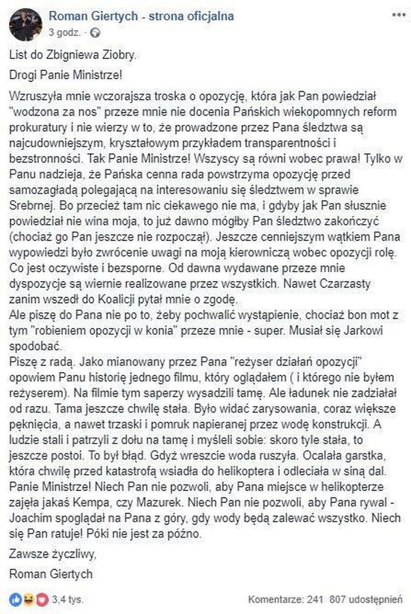 Roman Giertych pisze do Zbigniewa Ziobry