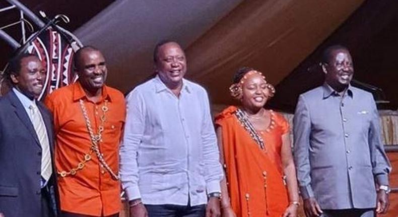 Kalonzo Muyoka, Kamotho Waiganjo, President Uhuru Kenyatta, Anne Waiguru and Raila Odinga