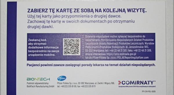 Zaświadczenie pacjenta zaszczepionego przeciw COVID-19