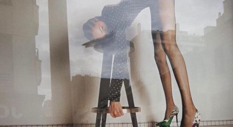Yves Saint Laurent have been accused of 'degrading' models and 'inciting rape' with a new French advertising campaign. One image (above) shows a model in a leotard and roller skate stilettos bending over a stool