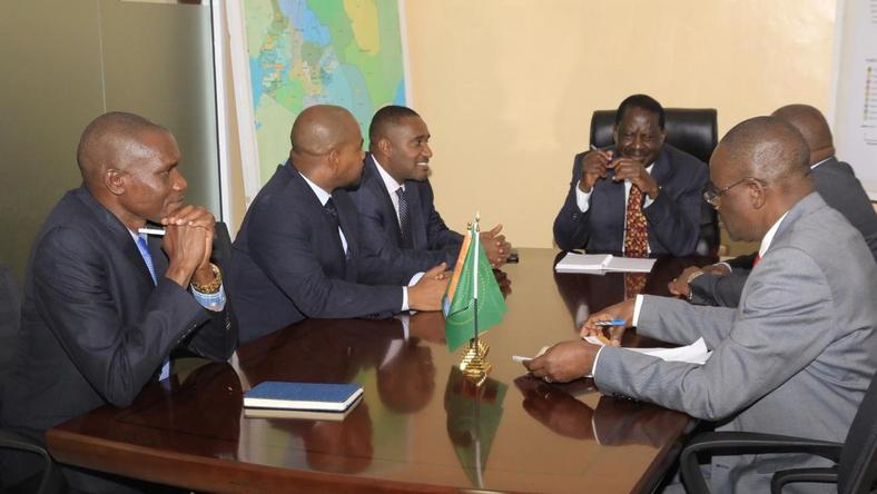 Former PM Raila Odinga hosts MP Dori and others during a private meeting on Wednesday