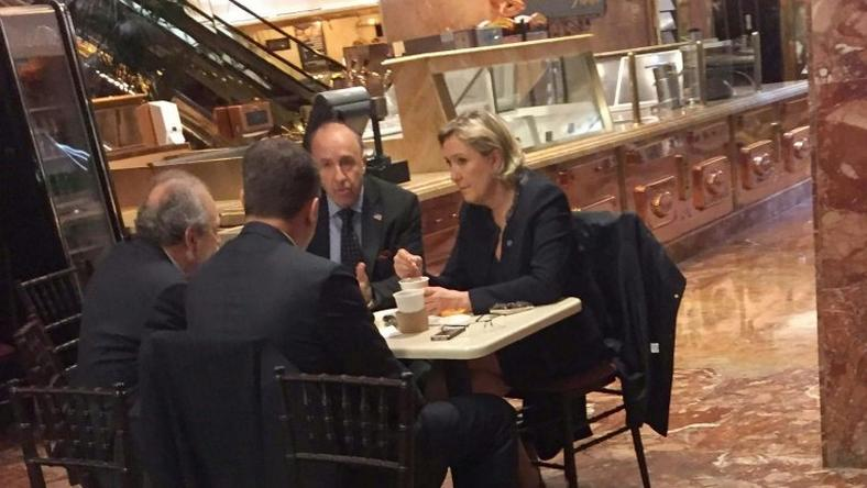 Far-right French presidential candidate Marine Le Pen (R) is spotted at Donald Trump's New York headquarters building on January 12, 2017 having coffee at Trump Ice Cream Parlor on the ground floor of Trump Tower