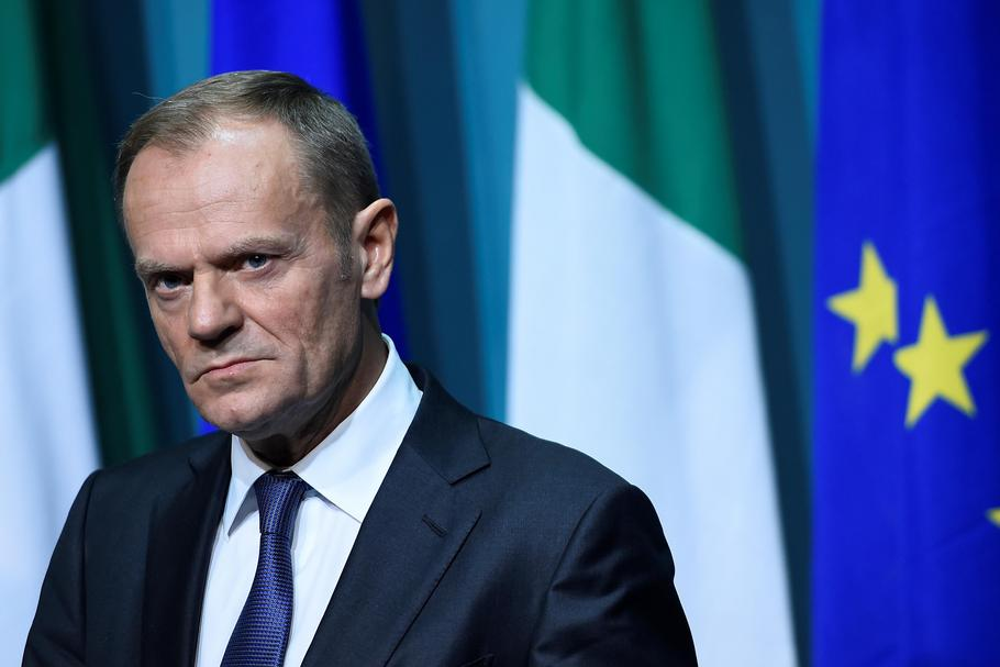 President of the European Council Donald Tusk arrives at a press conference at Government buildings
