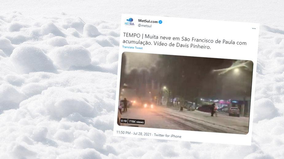 W Brazylii spadł śnieg