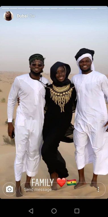 Gifty in between Kassim Nuhu on the left and Thomas Partey on the right in Dubai