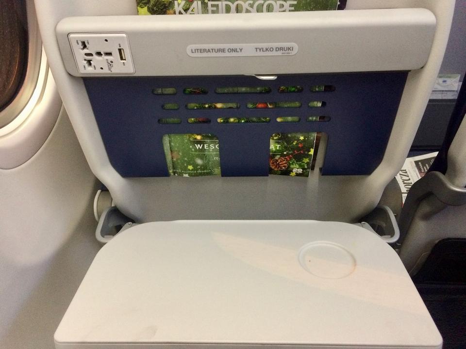 Każdy fotel w Boeingu 737 MAX 8 wyposażony jest w gniazdko i port USB, rozkładany stolik oraz kieszeń na rzeczy osobiste.