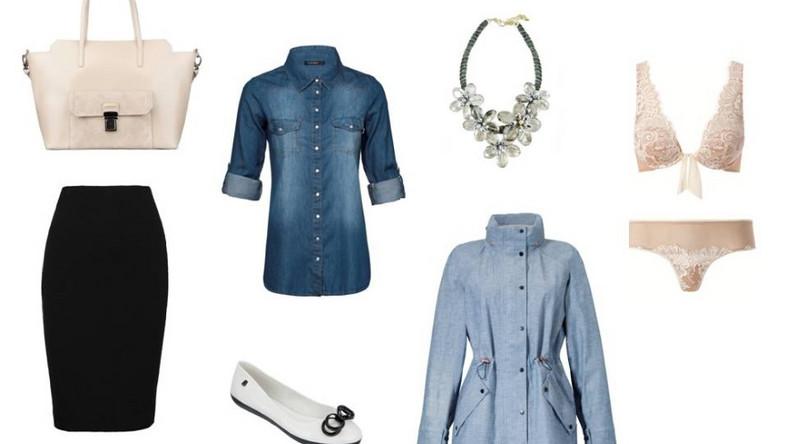 Do pracy wybierz eleganckie i kobiece połączenie ciemnego dżinsu z pastelowymi dodatkami. Postaw na ponadczasową kombinację koszuli z granatowego denimu z czarną ołówkową spódnicą, a na pewno nie zaliczysz modowej wpadki. Stylizację idealnie uzupełni błyszczący statement necklace. Zamień szpilki na gustowne balerinki, do ręki chwyć skórzaną torebkę i już jesteś gotowa na dzień pełen wyzwań!