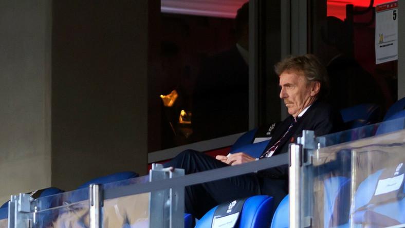 Prezes Polskiego Związku Piłki Nożnej Zbigniew Boniek podczas piłkarskiego meczu towarzyskiego reprezentacji Polski i Islandii, na Stadionie Miejskim