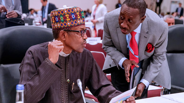President Muhammadu Buhari with his National Security Adviser, Babagana Monguno [Presidency]